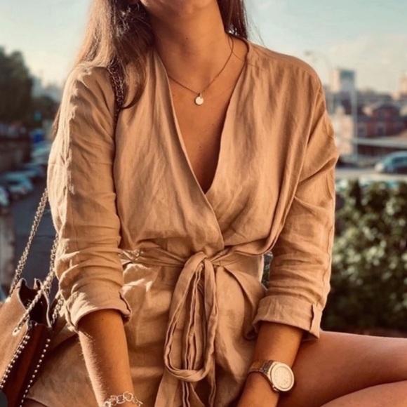 Zara Tops - Zara Blogger's Favorite Linen Wrap Top Tan Neutral